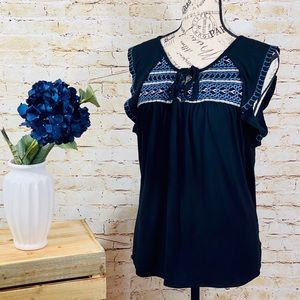 Sanctuary Embroidered Top. Black, Size Small